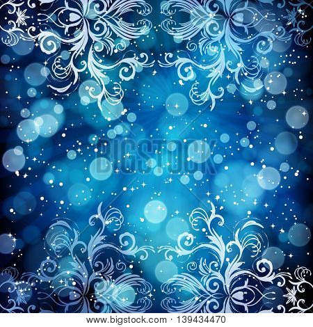 Abstract floral pattern on a blue background, made of transparent rays, stars, bokeh. Magical fantasy flowers design card.
