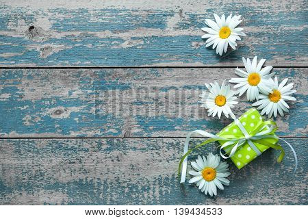 Daisy flowers with a gift box on blue painted wooden board