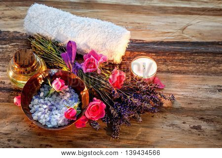 Spa still life with candles and flowers