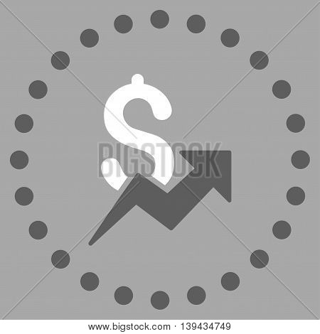Dollar Growth vector icon. Style is bicolor flat circled symbol, dark gray and white colors, rounded angles, silver background.