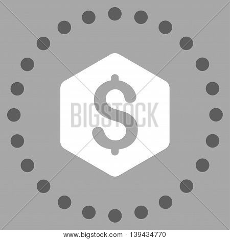 Dollar Hexagon vector icon. Style is bicolor flat circled symbol, dark gray and white colors, rounded angles, silver background.