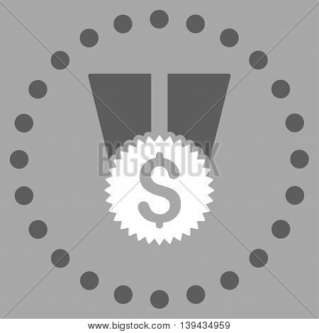 Financial Medal vector icon. Style is bicolor flat circled symbol, dark gray and white colors, rounded angles, silver background.