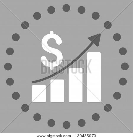 Financial Report vector icon. Style is bicolor flat circled symbol, dark gray and white colors, rounded angles, silver background.