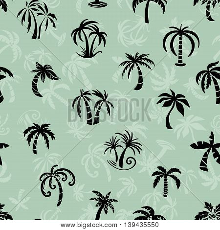 Seamless texture with sketch silhouette palm tree icons in black color on green background
