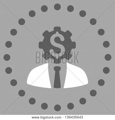 Office Worker vector icon. Style is bicolor flat circled symbol, dark gray and white colors, rounded angles, silver background.