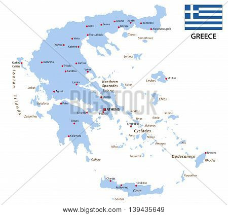 greece vector silhouette map with flag, europe