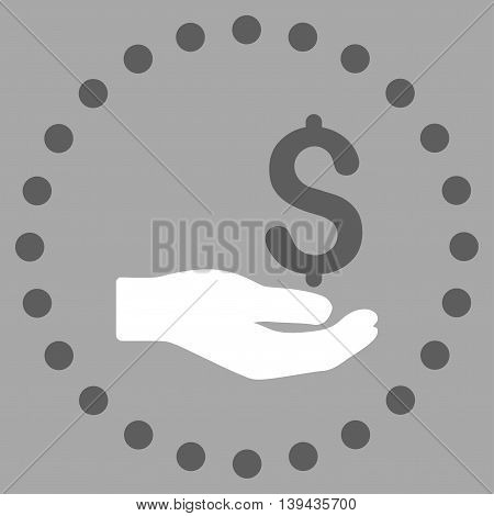 Payment vector icon. Style is bicolor flat circled symbol, dark gray and white colors, rounded angles, silver background.