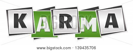 Karma text alphabets written over green grey background.