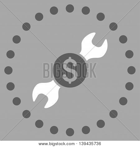 Repair Price vector icon. Style is bicolor flat circled symbol, dark gray and white colors, rounded angles, silver background.