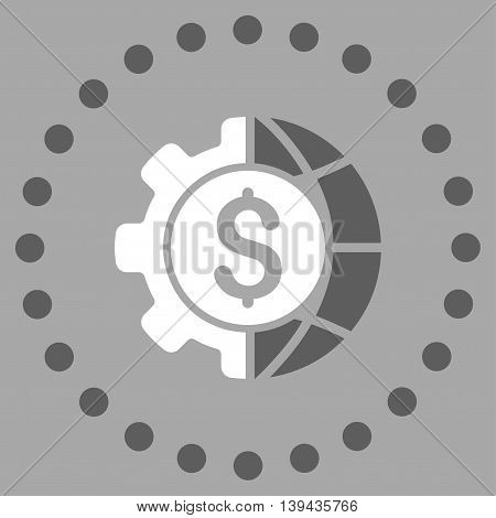 World Industry Finances vector icon. Style is bicolor flat circled symbol, dark gray and white colors, rounded angles, silver background.