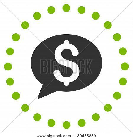 Bank Message vector icon. Style is bicolor flat circled symbol, eco green and gray colors, rounded angles, white background.
