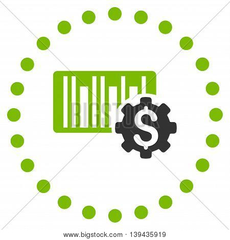Barcode Price Setup vector icon. Style is bicolor flat circled symbol, eco green and gray colors, rounded angles, white background.