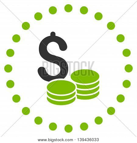 Dollar Cash vector icon. Style is bicolor flat circled symbol, eco green and gray colors, rounded angles, white background.