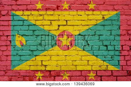 Flag of Grenada painted on brick wall background texture