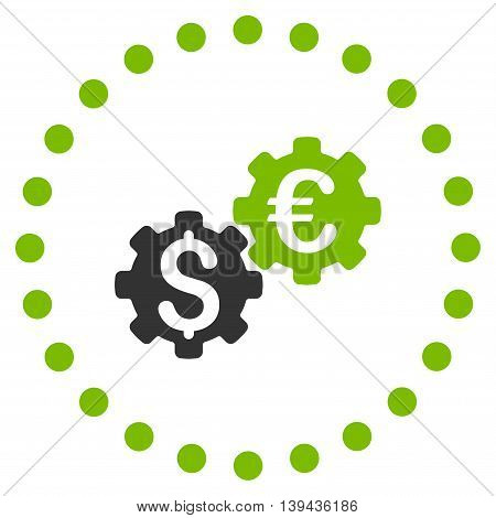 Financial Mechanics vector icon. Style is bicolor flat circled symbol, eco green and gray colors, rounded angles, white background.