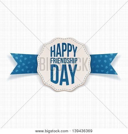 Happy Friendship Day Label with blue Ribbon. Vector Illustration