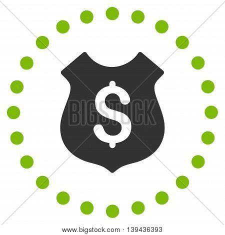 Financial Shield vector icon. Style is bicolor flat circled symbol, eco green and gray colors, rounded angles, white background.