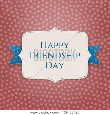 Happy Friendship Day realistic textile Banner. Vector Illustration