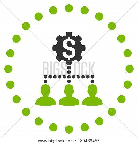 Industrial Bank Clients vector icon. Style is bicolor flat circled symbol, eco green and gray colors, rounded angles, white background.