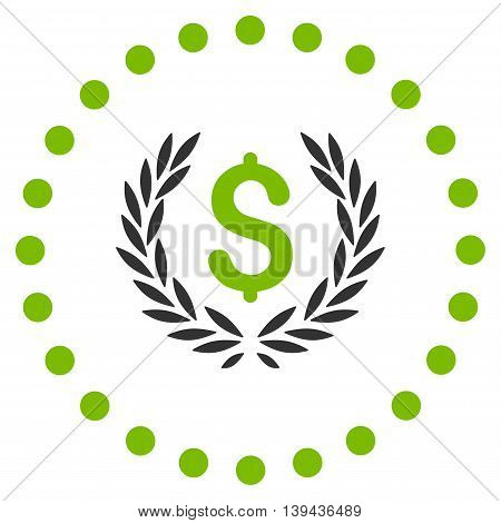 Laurel Bank Emblem vector icon. Style is bicolor flat circled symbol, eco green and gray colors, rounded angles, white background.