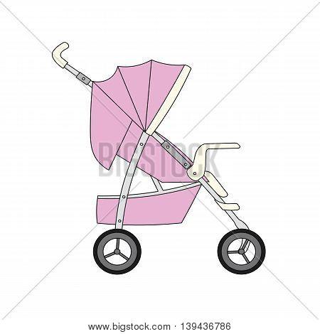 Pink cartoon children's stroller for baby girl.