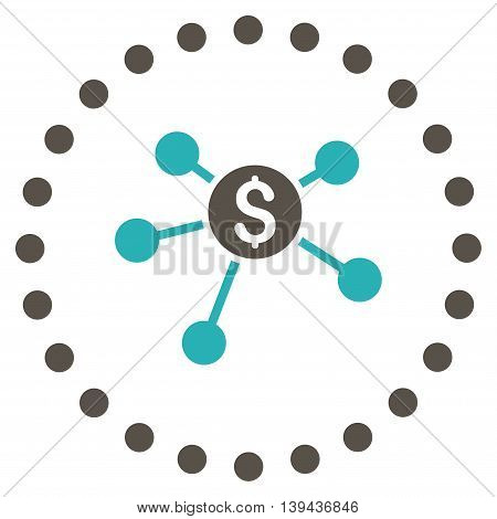 Bank Branches vector icon. Style is bicolor flat circled symbol, grey and cyan colors, rounded angles, white background.