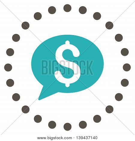 Bank Message vector icon. Style is bicolor flat circled symbol, grey and cyan colors, rounded angles, white background.