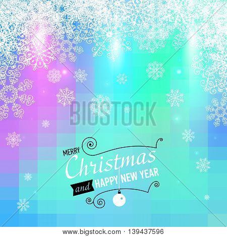 Merry Christmas and Happy New Year card. Vector illustration