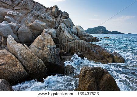 Sea rocks at early morning, west coast of peninsula Sithonia, Chalkidiki, Greece