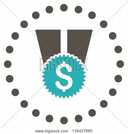 Financial Medal vector icon. Style is bicolor flat circled symbol, grey and cyan colors, rounded angles, white background.