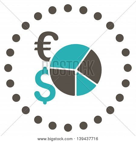 Financial Pie Chart vector icon. Style is bicolor flat circled symbol, grey and cyan colors, rounded angles, white background.