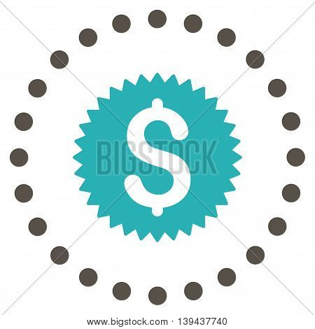 Financial Stamp vector icon. Style is bicolor flat circled symbol, grey and cyan colors, rounded angles, white background.