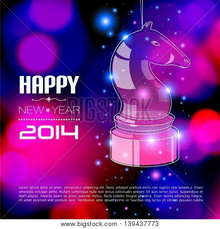 Happy New Year Card with glossy horse. Vector illustration