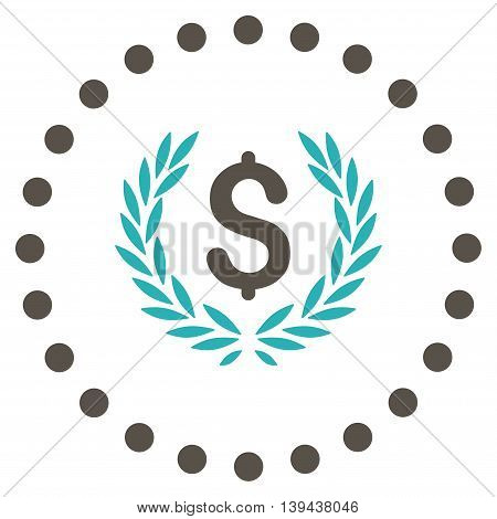 Laurel Bank Emblem vector icon. Style is bicolor flat circled symbol, grey and cyan colors, rounded angles, white background.