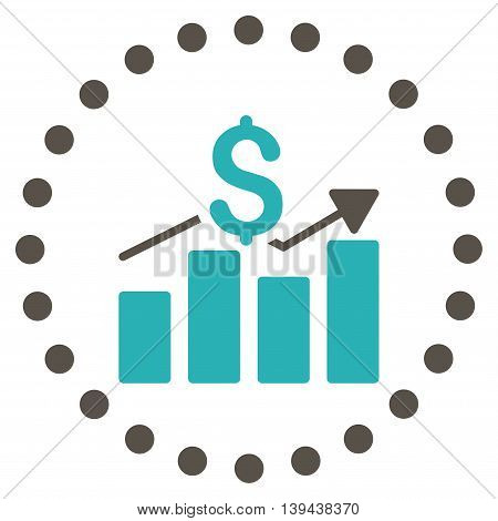Sales Bar Chart vector icon. Style is bicolor flat circled symbol, grey and cyan colors, rounded angles, white background.
