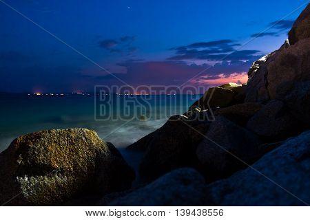 Sea rocks at twilight, west coast of peninsula Sithonia, Chalkidiki, Greece