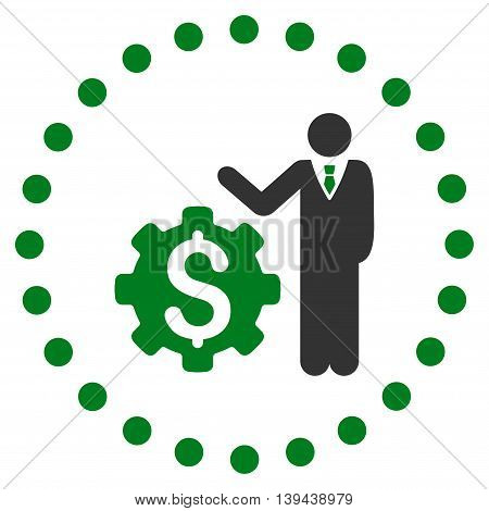 Businessman Options vector icon. Style is bicolor flat circled symbol, green and gray colors, rounded angles, white background.