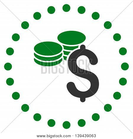 Dollar Coins vector icon. Style is bicolor flat circled symbol, green and gray colors, rounded angles, white background.