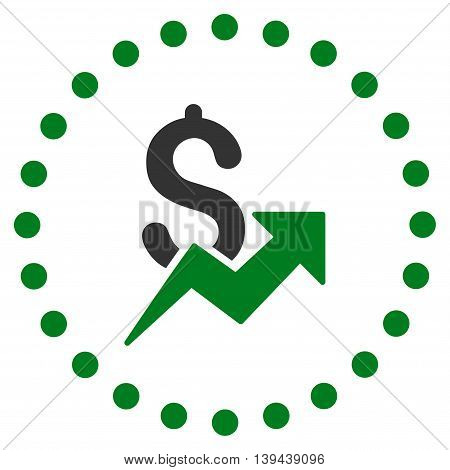 Dollar Growth vector icon. Style is bicolor flat circled symbol, green and gray colors, rounded angles, white background.
