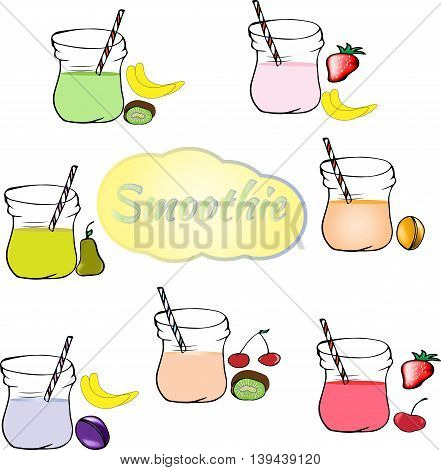 Collection of healthy fruit smoothies in Doodle style. Fresh juice for healthy life.