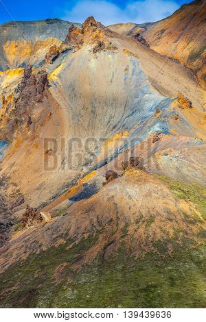 Incredible shades of rhyolitic mountains - yellow, orange, green and blue.  Travel to Iceland in the July. Summer volcanic tundra