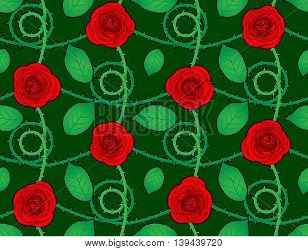 Rose red seamless pattern with green leaves