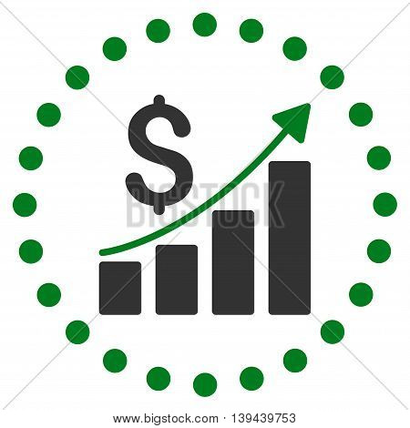 Financial Report vector icon. Style is bicolor flat circled symbol, green and gray colors, rounded angles, white background.