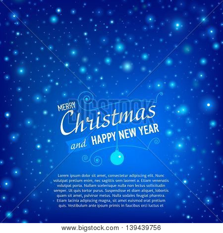 Merry Christmas and Happy New Year Card with snowfall. Vector illustration