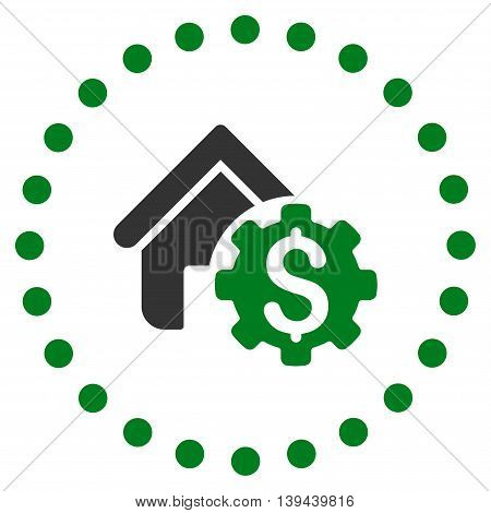 House Rent Options vector icon. Style is bicolor flat circled symbol, green and gray colors, rounded angles, white background.