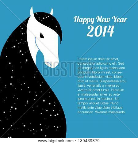 Happy new year card for 2014 year of Horse
