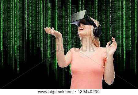 technology, virtual reality, entertainment and people concept - happy young woman with virtual reality headset or 3d glasses over binary code numbers and black background