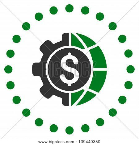 World Industry Finances vector icon. Style is bicolor flat circled symbol, green and gray colors, rounded angles, white background.