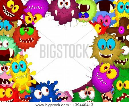 different kinds of cartoon bacteria on white background