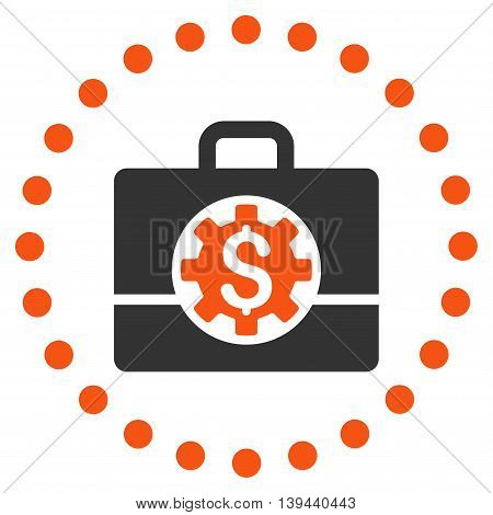 Bank Career Options vector icon. Style is bicolor flat circled symbol, orange and gray colors, rounded angles, white background.